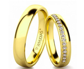d860b492b Alianças de noivado e casamento em ouro com zircônias
